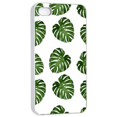 Leaf Pattern Seamless Background Apple Iphone 4/4s Seamless Case (white)