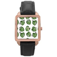 Leaf Pattern Seamless Background Rose Gold Leather Watch
