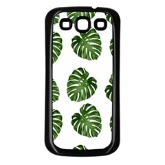 Leaf Pattern Seamless Background Samsung Galaxy S3 Back Case (Black)