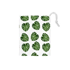 Leaf Pattern Seamless Background Drawstring Pouches (small)