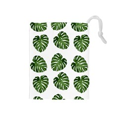 Leaf Pattern Seamless Background Drawstring Pouches (Medium)