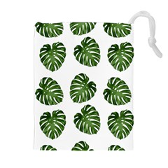 Leaf Pattern Seamless Background Drawstring Pouches (extra Large)