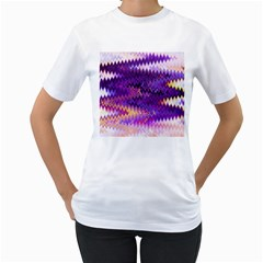 Purple And Yellow Zig Zag Women s T-Shirt (White) (Two Sided)