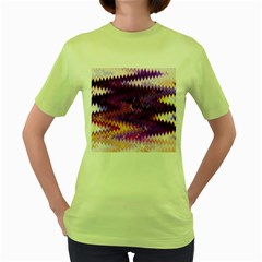 Purple And Yellow Zig Zag Women s Green T-Shirt