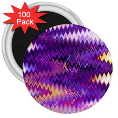 Purple And Yellow Zig Zag 3  Magnets (100 pack)