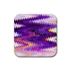 Purple And Yellow Zig Zag Rubber Coaster (Square)