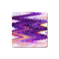 Purple And Yellow Zig Zag Square Magnet