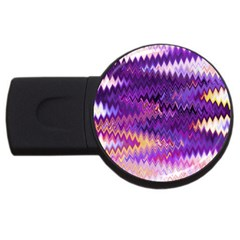 Purple And Yellow Zig Zag USB Flash Drive Round (2 GB)