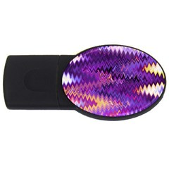 Purple And Yellow Zig Zag Usb Flash Drive Oval (2 Gb)