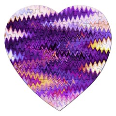 Purple And Yellow Zig Zag Jigsaw Puzzle (heart)