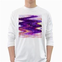 Purple And Yellow Zig Zag White Long Sleeve T-Shirts