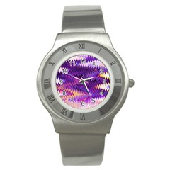 Purple And Yellow Zig Zag Stainless Steel Watch