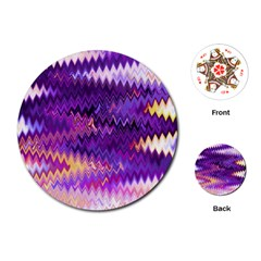 Purple And Yellow Zig Zag Playing Cards (Round)