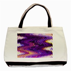 Purple And Yellow Zig Zag Basic Tote Bag