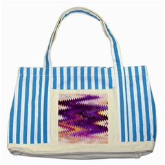Purple And Yellow Zig Zag Striped Blue Tote Bag