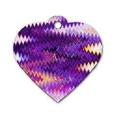 Purple And Yellow Zig Zag Dog Tag Heart (one Side)