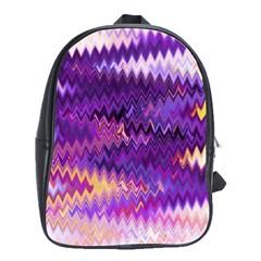 Purple And Yellow Zig Zag School Bags(Large)