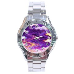 Purple And Yellow Zig Zag Stainless Steel Analogue Watch