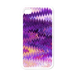 Purple And Yellow Zig Zag Apple iPhone 4 Case (White)