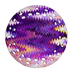 Purple And Yellow Zig Zag Round Filigree Ornament (Two Sides)