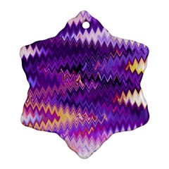 Purple And Yellow Zig Zag Snowflake Ornament (Two Sides)