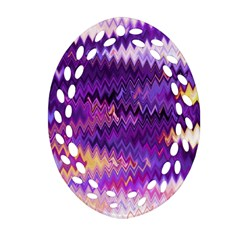 Purple And Yellow Zig Zag Ornament (Oval Filigree)