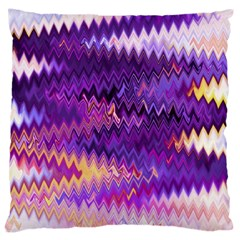 Purple And Yellow Zig Zag Large Cushion Case (Two Sides)