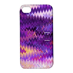 Purple And Yellow Zig Zag Apple iPhone 4/4S Hardshell Case with Stand