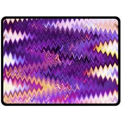 Purple And Yellow Zig Zag Double Sided Fleece Blanket (large)