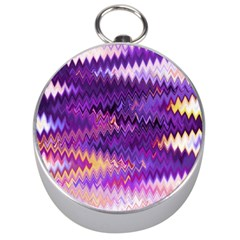 Purple And Yellow Zig Zag Silver Compasses