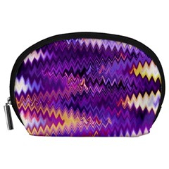 Purple And Yellow Zig Zag Accessory Pouches (Large)