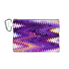 Purple And Yellow Zig Zag Canvas Cosmetic Bag (m)