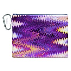 Purple And Yellow Zig Zag Canvas Cosmetic Bag (xxl)