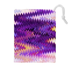 Purple And Yellow Zig Zag Drawstring Pouches (extra Large)