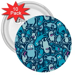 Monster Pattern 3  Buttons (10 pack)