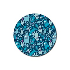 Monster Pattern Rubber Round Coaster (4 Pack)
