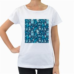Monster Pattern Women s Loose Fit T Shirt (white)
