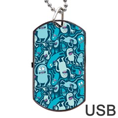 Monster Pattern Dog Tag USB Flash (Two Sides)