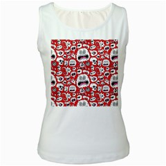 Another Monster Pattern Women s White Tank Top
