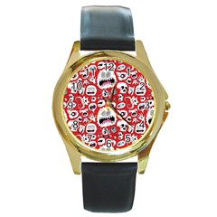 Another Monster Pattern Round Gold Metal Watch