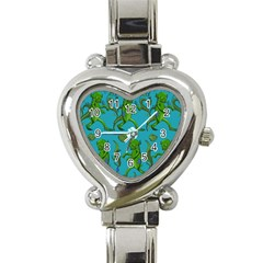 Swamp Monster Pattern Heart Italian Charm Watch