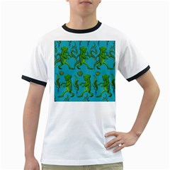 Swamp Monster Pattern Ringer T-Shirts