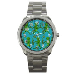 Swamp Monster Pattern Sport Metal Watch