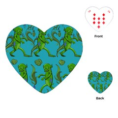 Swamp Monster Pattern Playing Cards (heart)