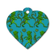 Swamp Monster Pattern Dog Tag Heart (One Side)