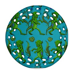 Swamp Monster Pattern Round Filigree Ornament (two Sides)