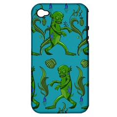Swamp Monster Pattern Apple Iphone 4/4s Hardshell Case (pc+silicone)
