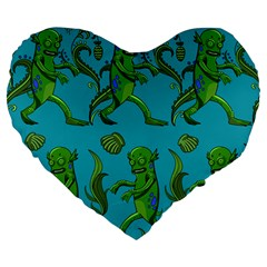 Swamp Monster Pattern Large 19  Premium Heart Shape Cushions
