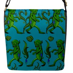 Swamp Monster Pattern Flap Messenger Bag (S)