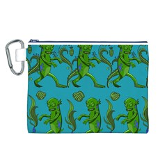 Swamp Monster Pattern Canvas Cosmetic Bag (L)